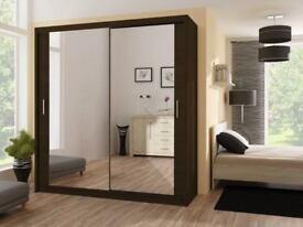 BRAND NEW 2 DOOR SLIDING MIRRORED WARDROBES IN 120cm 150cm 180cm 203cm 250cm Black White Walnut Oak