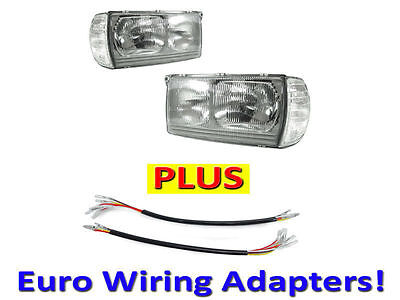 DEPO 77-85 Mercedes Benz W123 Euro Glass Headlight+Corner+Wiring Adapter Pair for sale  Rancho Cucamonga