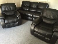 REIDS 3 -1 -1 LUXURY BLACK FULL LEATHER RECLINING SOFAS