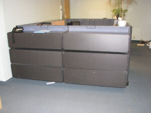 Great Herman Miller 2 person modular cubicle with super storage