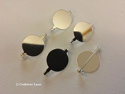 Brooch Backs - 20mm Silver Plated - Round - Set x 15 - Craft Jewellery Lock Pin