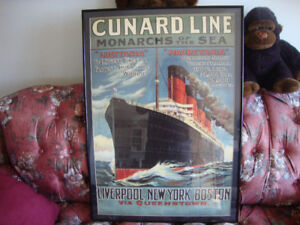 Cunard Line/French Liner Framed Posters