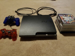 PS3 Slim Console, Games, and Contollers