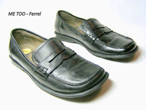 "Farrel ""ME TOO"" Black Shoes square toe, flat,.slip-on 7 leather"