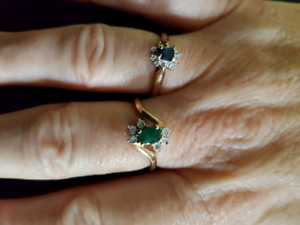 10k gold sapphire and emerald ring