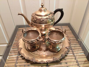 Vintage Silver Tea Service with matching Silver Tray