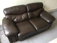 Immaculate Very Comfy Dark Brown Leather Couch