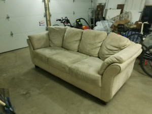 Beige microsuede couch/sofa