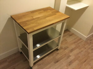 White & Oak IKEA Kitchen Island