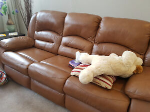 Two PCs genuine leather Recliners set
