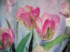 """Summer Flowers by M. Knox """"Pretty in Pink"""" Watercolor, 1970 Stratford Kitchener Area image 4"""