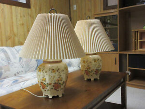 Beautiful ceramic painted lamps with shades