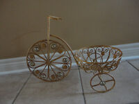 Brand new metal beige marble detail bicycle plant stand planter