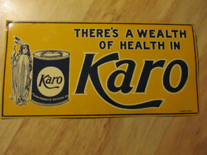 KARO Corn Syrup Metal Tin Sign Vintage Indian Squaw Advertising