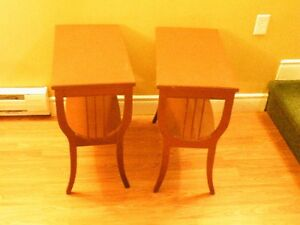 Set of harp style end tables
