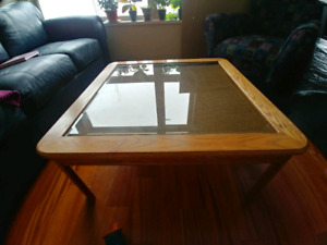 Glass top coffee table, end tables, and tv stand