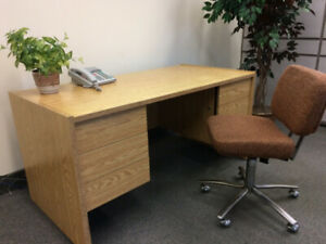 Oak-finish Desk