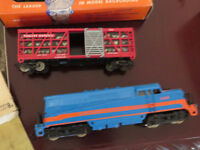 1950's era HO Lionel trains some are metal and 1960's magazines