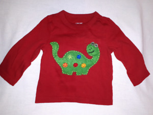 Dinosaur (Christmas Theme?) Long Sleeve T-shirt 12mts EUC