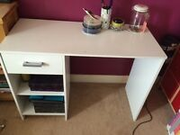 White desk for kids or teenagers, height 28.5 inches
