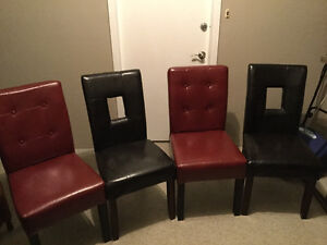 X 8 Leather Padded CHAIRS - x4 very deep Brown - x 4 Red