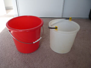 Red color plastic pail with handle
