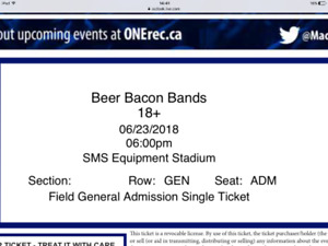 2 tickets to Beer Bacon Bands