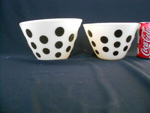 Vintage Fire King Black Dots Splash Proof Bowls