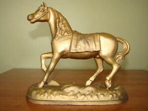 antique cheval clock en métal   Ansonia 1900 1910