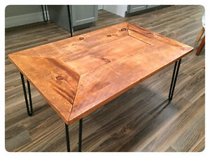 Barn board and hairpin leg coffee and end tables