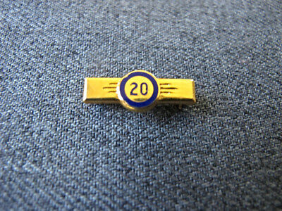 Vintage blue enamel golden metal 20 anniversary miniature pin  Marked  #4
