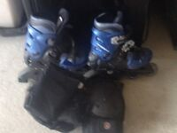 Boys rollerblades and safety guard kit