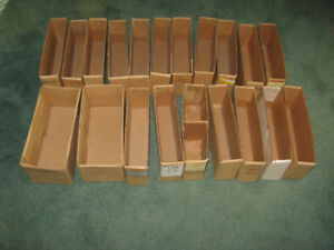 """Qty 20 Cardboard Stock-Room Parts Boxes 5"""" Tall x 12"""" Deep USED"""