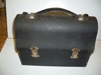 Vintage Metal Lunch Pail With Original Leather Handle