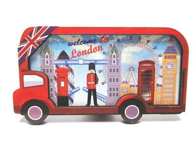 London Wood 2D Magnet Red Bus Collage Souvenir Great Britain, New