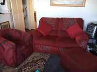 Comfy sofa tub chair & storage footstall £60 for all