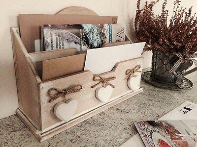 Wooden Letter Rack Post Desk Organiser Holder Hearts Shabby Vintage Style