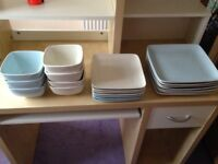 Plates and Bowls Set NEXT 5-7 settings Square Blue & Cream