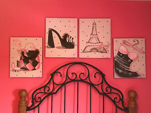 Four (4) Large Hand-painted Shabby Chic on Canvas Pictures