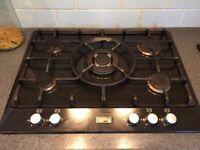 Gas hob five ring 70-75cm wide large burner in middle
