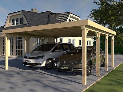 Carport Flachdach AVUS III 600x600 cm Konstruktionsvollholz KVH Bausatz Fichte