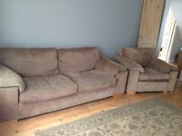 Sofa and armchair free must be collected by tomorrow morning