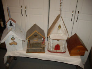3 BIRDS HOUSES MADE FROM BARN WOOD + ONE IN CHOPPING BLOCK..