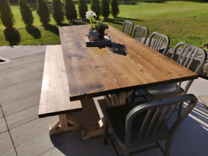 NEW INDOOR 8 FOOT HARVEST TABLE with BENCH $700 OR BEST OFFER!!!
