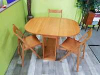Light Wood Drop-Leaf Table With 3 Chairs & Chair Storage - Can Deliver For £19