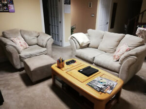 Beautiful Beige Loveseat, Arm Chair and Ottoman for SALE!