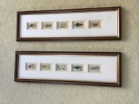 10 golfing cigarette cards framed into 2 pictures frames.