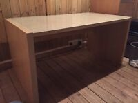 Ikea desk light wood with glass top