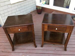 Two Modern Dark Wood Side Tables or Nightstands