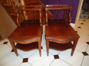 $20 PAIR OF SOLID WOOD VINTAGE END TABLES - COULD BE REFINISHED